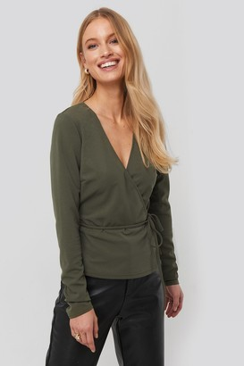 NA-KD Wrap Over Long Sleeve Top