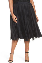 Adrianna Papell Sunburst Pleat Tulle Skirt (Plus Size)