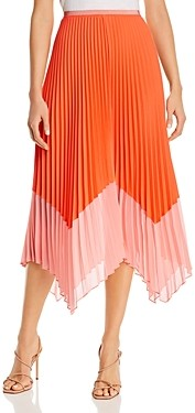 French Connection Ali Pleated Two-Tone Midi Skirt