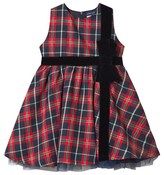 Andy & Evan Red Holiday Plaid Dress with Velvet Bow