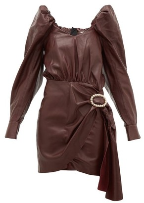 Dodo Bar Or Mona Crystal-buckle Leather Dress - Burgundy