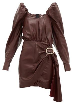 Dodo Bar Or Mona Crystal-buckle Leather Dress - Womens - Burgundy