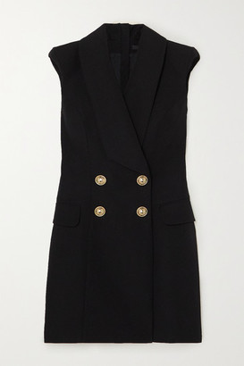 Balmain Button-embellished Grain De Poudre Wool Mini Dress - Black