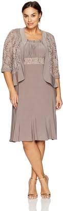 R & M Richards R&M Richards Women's Plus Size Two Piece Lace Ruffle Front Jacket Dress Large