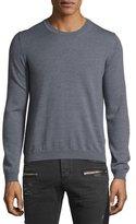 Just Cavalli Long-Sleeve Crewneck Wool Sweater, Gray