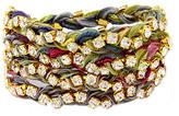 Ettika Rhinestone Wrap-Around Muted Multicolor Ribbon Bracelet