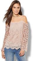 New York & Co. Lace Cold-Shoulder Bell-Sleeve Top