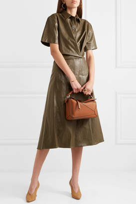 Cédric Charlier Glossed Faux Leather Midi Dress - Army green