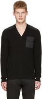DSQUARED2 Black V-neck Pocket Sweater