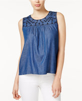Maison Jules Embroidered Chambray Top, Only at Macy's