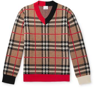 Burberry Checked Merino Wool-Blend Sweater