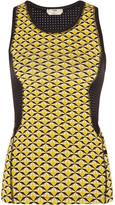 Fendi Mesh-paneled Printed Stretch-jersey Tank - Yellow