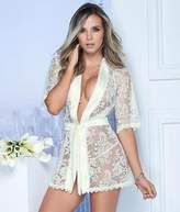 Mapale Lace Robe Matching G-String Set Lingerie - Women's