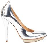 Alexander McQueen Silver Leather Heels