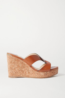 Jimmy Choo Atia 100 Leather Wedge Sandals - Tan