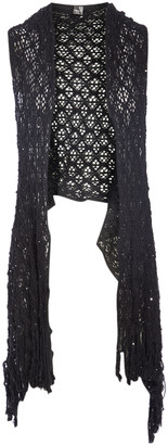 Lvs Collections LVS Collections Women's Sweater Vests BLACK - Black Fringe Hollow Crocheted Open Vest - Women