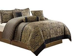 Chezmoi Collection 7-Piece Lisbon Jacquard Floral Comforter Set