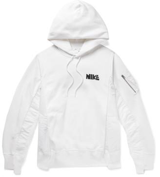 Nike + Sacai Nrg Panelled Logo-Print Cotton-Blend Jersey And Shell Hoodie
