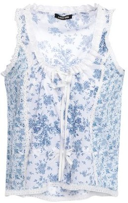 Love Sam Lace-trimmed Floral-print Cotton-gauze Top