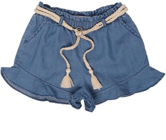 MINOTI Junior Girls Lyocell/Tencil Shorts With Rope Tie Blue