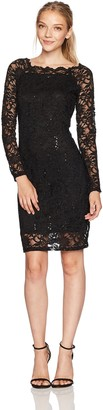 Tiana B T I A N A B. Women's Scallop Neck Sequin Lace Dress Petite