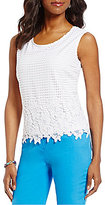 Allison Daley Solid Woven Border Flower Lace Front Tank