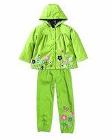 HYSENM Litter Girls' Outwear Suit Waterproof Hooded Rain Jacket Rain Trousers Suit
