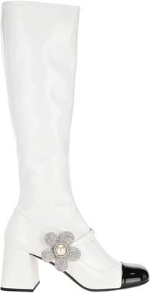 Miu Miu Embellished Patent Leather Boots