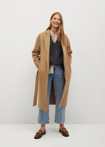 MANGO Woollen coat with chain detail