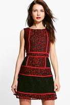 Boohoo Emily Corded Lace Panelled Open Back Dress