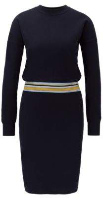 BOSS Long-sleeved knitted dress with striped waist