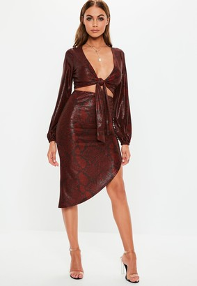 Missguided Red Snake Print Side Ruched Co Ord Midi Skirt