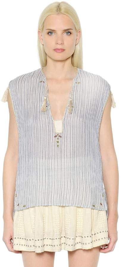 Etoile Isabel Marant Embroidered Striped Cotton Voile Top