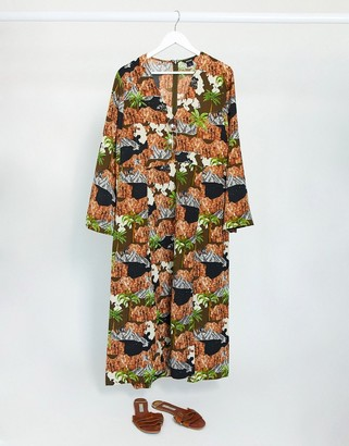Monki midi dress with graphic print