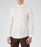 Reiss Reiss Halston - Abstract Print Shirt In White