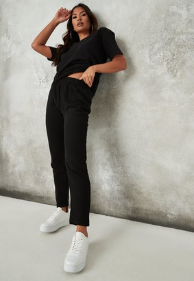 Missguided Black V Neck T Shirt And Joggers Co Ord Set