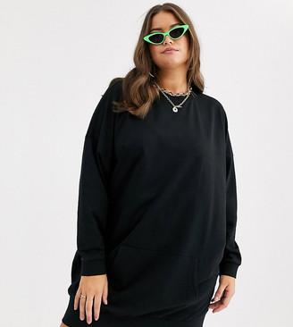 Asos DESIGN Curve sweat dress with front pocket-Black