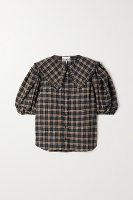 Ganni Ruffled Checked Organic Cotton-blend Seersucker Blouse - Black