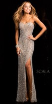 Scala Beaded Heart Shape Strapless Prom Dress