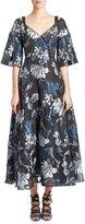Erdem Floral Brocade V-Neck Tea-Length Gown, Black/Blue