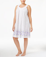 Charter Club Plus Size Border-Print Short Nightgown, Only at Macy's