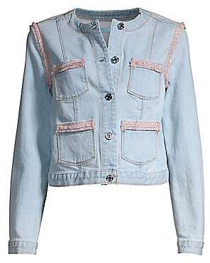 7 For All Mankind Women's Collarless Fringed Denim Jacket