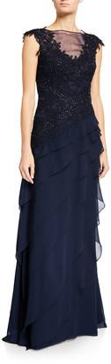 Rickie Freeman For Teri Jon Beaded Cap-Sleeve Asymmetric Shutter Pleated Gown