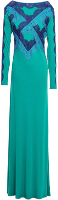 Emilio Pucci Corded Lace-paneled Crepe De Chine Gown
