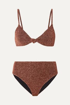 Caroline Constas Marta And Mykela Twist-front Stretch-lurex Bikini - Bronze