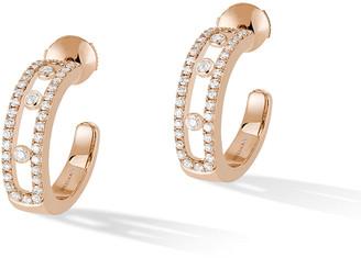 Messika Move 18k Rose Gold Pavé Diamond Hoop Earrings