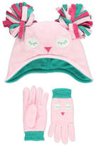 George Fleece Owl Trapper Hat and Gloves Set