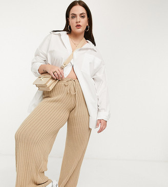 In The Style Plus x Lorna Luxe lullaby ribbed wide leg pant co ord in brown