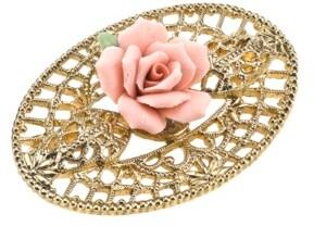 2028 Gold-Tone Pink Porcelain Rose Filigree Brooch