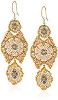 Miguel Ases Floral Center Neutral Swarovski Movable Tail Contrast Drop Earrings